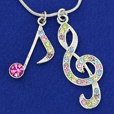 W Swarovski Crystal Treble Clef Note Song Music Multi Color Pendant Necklace