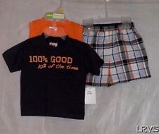 Boys Park Bench Kids 100% Good Outfit 2 Shirts and Plaid Shorts Set 12M New