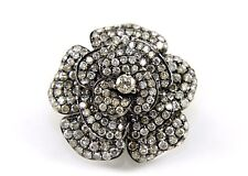 Huge Black Rose Flower Diamond Fashion Ring 14K White Gold + Rhodium 3.00Ct