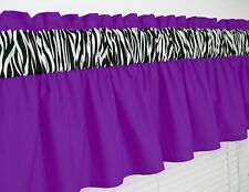 ~ 3 inch wide rod pocket ~ Purple & Zebra Print Valance Window Curtain  NEW !!