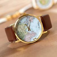 World Map Globe Fashion Leather Alloy Womens Analog Quartz Watches Brown UP