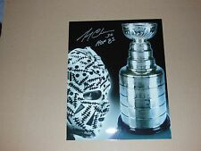 Boston Bruins Gerry Cheevers Autographed 8x10 Photo Mask and Cup