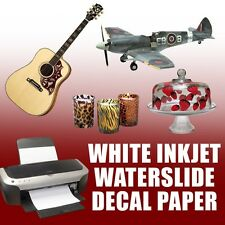 INKJET WHITE Waterslide decal paper for model cars or nail decals 5 sheets