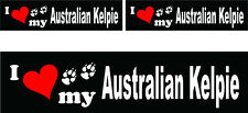 (3) I love my Australian Kelpie dog bumper vinyl stickers 1 large 2 small