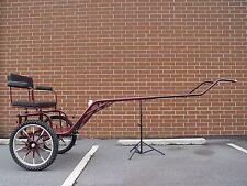 "Horse Carriage, 2-Wheel Pony Cart, 49"" Wide Wheel Size 27"" Burgundy"
