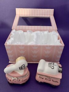 My First Tooth and Curl Keepsake Mud Pie In Fabric Lined Box Baby Girl NEW