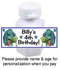 30 Monsters Inc Birthday Party Bubble Labels Stickers Baby Shower Favors Sully