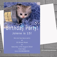 Personalised Kitten Adults Kids Girls Birthday Party Invitations x 12+envs H0735