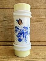 Antique Bristol Bohemian Painted Blue Flowers Butterfly Milk Glass Cylinder Vase