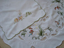 Vintage Easter Embroidered Tablecloth table runner – Happy bunny + GIFT
