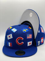 Chicago Cubs Royal New Era All Over Flag 59FIFTY Fitted Hat Gray UV