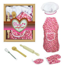 7PCS CHEF SET FOR KIDS KITCHEN ROLE PLAY COOK COSTUME WITH APRON COOKING MITT