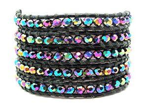 Beaded Multiple Wrap Bracelet Aurora Borealis Gray Leather