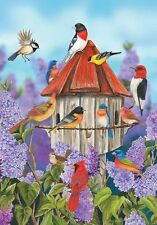 #31 BIRDS AND LILACS FLOWERS LARGE HOUSE FLAG 28X40 BANNER SUMMER BIRDHOUSE