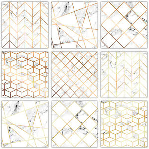 Mosaic Tile Stickers Transfers Modern White Marble Gold / Copper Effect - T22