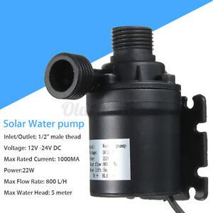 800L/H 24V DC Hot Water Pump Circulation Solar Brushless Motor Submersible 5M UK
