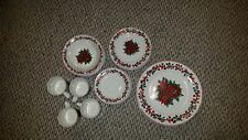 20 pc LORRAINE'S CLASSIC CHRISTMAS POINSETTIA DINNERWARE DISHES (Service For 4)