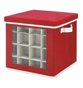 Holiday Ornaments Storage Box Cube with 64 Individual Compartments in Red