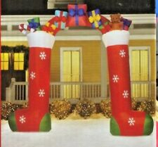 NEW GIANT 9.5 FT TALL LIGHTED STOCKING ARCHWAY CHRISTMAS INFLATABLE BY GEMMY