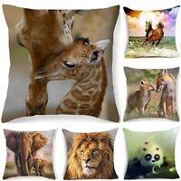 """18"""" Animals Polyester Throw Pillow Case Cushion Cover Sofa PillowCase Home Decor"""