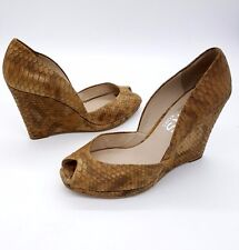MICHAEL KORS Size 7 Beige Tan Textured Snake Skin Peep Toe Wedge Heel Shoes