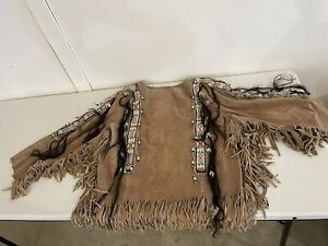 Vintage Native American Indian Buckskin Leather Jacket Fringe Beaded War Shirt
