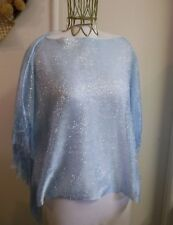 Chic Ruff Beach Cover-Up Poncho Silver And Blue Fringed One Size