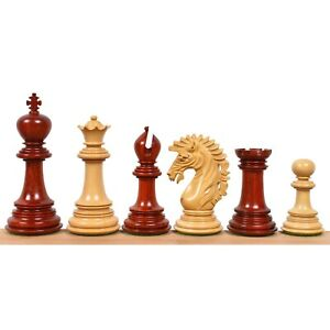 """4.6"""" Mogul Staunton Luxury Chess Pieces Only Set -Triple Weighted Bud Rose Wood"""