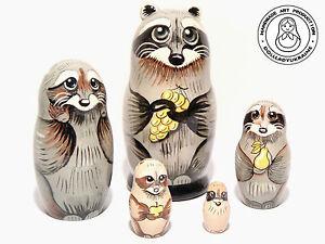Raccoon Happy family Nesting doll, Martyoshka 4.3''/ 11 cm