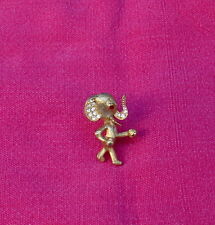 Vintage ELEPHANT Brooch Pin Gold Tone with Red & Clear Crystals