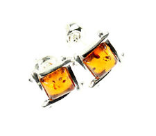 SilverAmber Jewellery Earings GL052 925 Sterling Silver Cognac Amber Stones