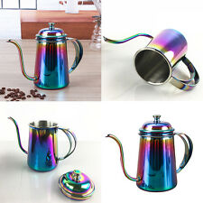 650ml Colorful Stainless Steel Coffee Tea Hand Drip Pour Pot Gooseneck Kettle!