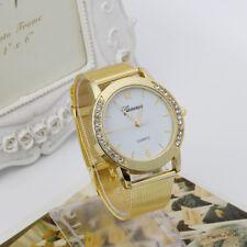 Women Fashion Crystal Golden Stainless Steel Analog Quartz Wrist Watch Bracelet