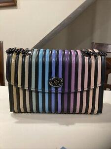 COACH Ombre Quilting Parker Shoulder Bag Black Stripe Handbag Leather Purse New