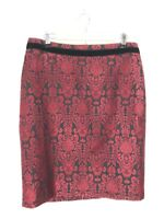 Talbots Deep Red Patterned Velvet Trimmed Skirt, Size 12, NWOT