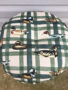 bar stool cushioned cover home decore fabric/ducks on green plaid/outdoor themed