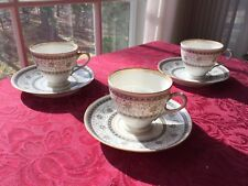 3  Budapest signed Hand decorated Porcelain Cups And Saucers