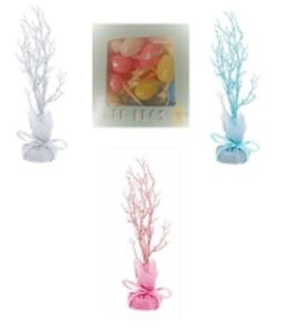 Easter Tree Table Top Twig Hanging Decoration Glitter Pink -Blue & PASTEL EGGS
