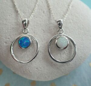 Sterling Silver White or Blue Opalique Opal Hoop Pendant Necklace October Libra