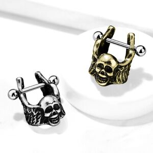 16G BRASS WINGED SKULL CARTILAGE/HELIX CUFF PIERCING SURGICAL STEEL BARBELL