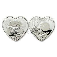 China 2018 Valentine Bamboo Panda 1 oz Silver Heart-shaped Proof with COA