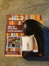 New Brentwood Black Single Cup Coffee Maker Includes Porcelain Mug Ts-112B