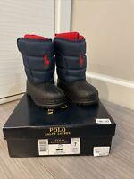 New Polo Ralph Lauren Rain Snow Boots Fleece Liner Rubber Sole Size 7 Boys Girls