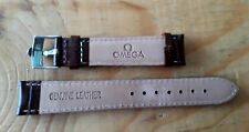 OMEGA BROWN BAND 18MM LEATHER WATCH WATCHBAND STRAP SILVER OMEGA LOGO