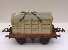 HORNBY O GAUGE FLAT WAGON WITH BR INSULMEAT LOAD GOOD UNBOXED