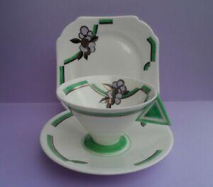 "A scarce Shelley Art Deco ""Flowers & Lines"" 11745 Vogue shape tea trio. C.1930"