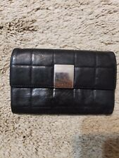 CHANEL Chocolate Bar Logo Wallet Clutch Lambskin Leather ID Credit Cards