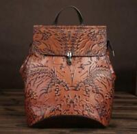 Chic Women's Vintage Brown Genuine Leather Backpack Travel Bag Embossed Handbag