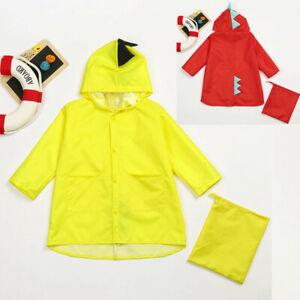 2PCS Toddler Kid Boy Girl Cartoon Dinosaur Raincoat Outerwear Outfit Set NEW