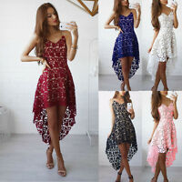 Women's Boho V-Neck Floral Lace Sleeveless Evening Party Swing Irregular Dress